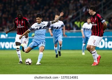 Milano, Italy - April 13,2019. Italian Serie A. Ac Milan vs Ss Lazio.   Joaquin Correa  of SS Lazio .