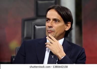 Milano, Italy - April 24,2019. Italian Tim Cup. Ac Milan vs Ss Lazio.   Simone Inzaghi, head coach of SS Lazio