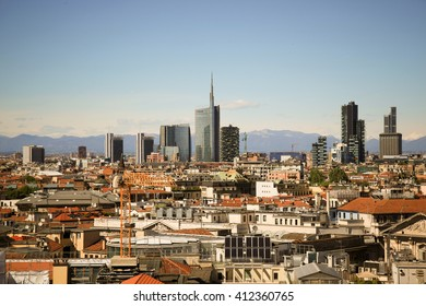 MILANO, ITALY - APRIL 25, 2016: Panoramic view of Milano from the rooftop of Duomo Cathedral in a beautiful day with blue sky.