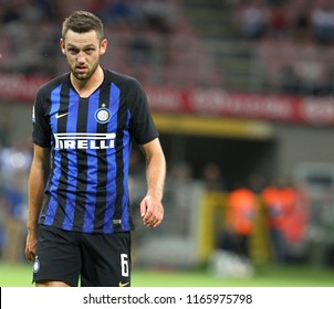 Milano, Italy - August 26,2018: Stefan De Vrij during football match serie A League 2018/2019 between Inter vs Torino at the San Siro Stadium in Milano.