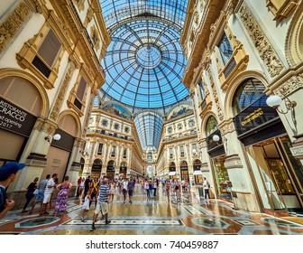 MILANO, ITALY - AUGUST 4, 2017: Vittorio Emanuele II Gallery. Milan, Italy