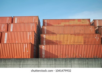 Milano, Italy - February 21, 2018 : Shipping container