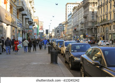 Milano, Italy - January 07, 2017: People walking in Corso Buenos Aires, one of the major Street in Milan.