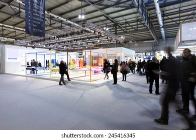 MILANO, ITALY - JANUARY 19, 2015: People at PANTONE area, HOMI, international fair exhibition of lifestyle and interiors design, last trade show before nex EXPO in Milano, Italy.