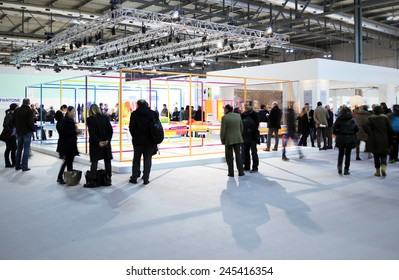 MILANO, ITALY - JANUARY 19, 2015: People at the entrance of HOMI, international fair exhibition of lifestyle and interiors design, last trade show before nex EXPO in Milano, Italy.