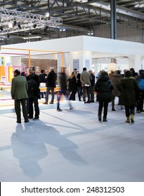 MILANO, ITALY - JANUARY 19, 2015: People visit HOMI, international fair exhibition of lifestyle and interior design architecture, last trade show before next EXPO in Milano, Italy.