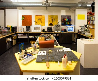 MILANO, ITALY - July 28, 2018 - Fablab located in Milan's city center. A fablab (fabrication laboratory) is a small-scale workshop offering personal digital fabrication and 3D Printing.