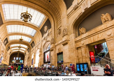 MILANO, ITALY - JULY 3, 2019: Milano Central Train Station (Stazione Milano Centrale). It's the second-largest station in Italy.
