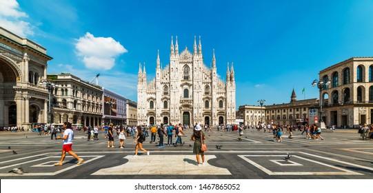 MILANO, ITALY - JULY 3, 2019: Duomo di Milano Cathedral in Duomo Square. (Piazza del Duomo or Duomo Square). Milano, Italy.