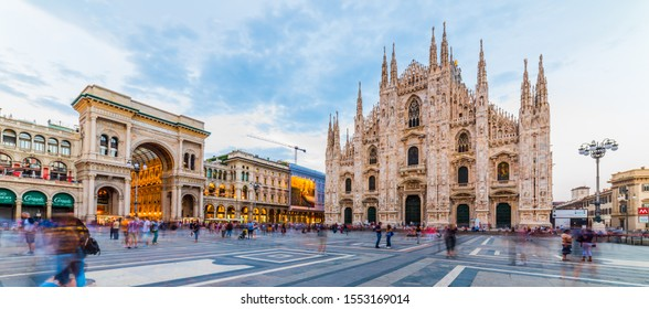 MILANO, ITALY - JULY 3, 2019: Piazza del Duomo or Duomo Square. Duomo di Milano Cathedral and Galleria Vittorio Emanuele II of panoramic view in Duomo Square. Milano, Italy.