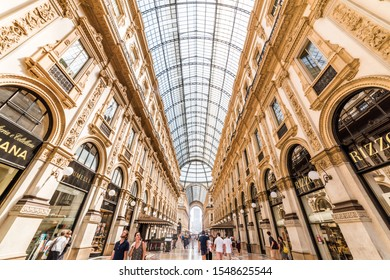 MILANO, ITALY - JULY 4, 2019: Galleria Vittorio Emanuele II in Milano, Italy. Famous shopping arcade in Milan. One of the world's oldest shopping malls.