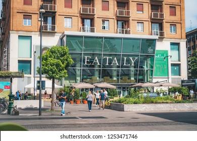 MILANO, ITALY - JUNE, 2018: Exterior view of the entrance to Eataly Milano Smeraldo.