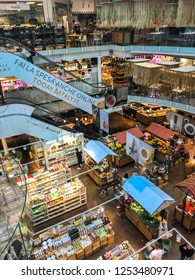 MILANO, ITALY - JUNE, 2018: The view of three floors of Eataly Milano Smeraldo, one of the greatest places to shop food, gifts and groceries.