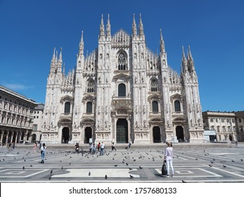 Milano, Italy. June 6, 2020. The main facade of the Dome and the square. The famous Cathedral in Milan. The church is a main landmark of the town. Few people at the square because of the Covid-19