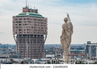 Milano, Italy - March 27 2010: Remote view of Torre Velasca from the roof of Duomo Milano
