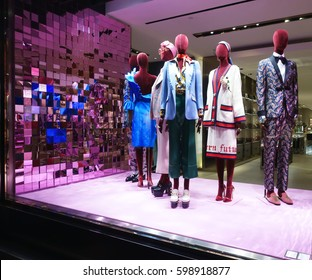 Milano, Italy - March 9th 2017: High fashion Gucci store window display, Via Monte Napoleone, Milano, Italy. Gucci is an Italian fashion and leather goods brand