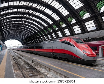 Milano, ITALY - MAY 12, 2019: Freccia rossa high speed train ready for departure at Milano Central station.