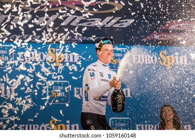 Milano, Italy May 28, 2017: Bob Jungels, Quick Step Team, celebrates on the podium in Milan his victory of White Jersey of the yungest rider of the Tour of Italy 2017 after 21 days of race.