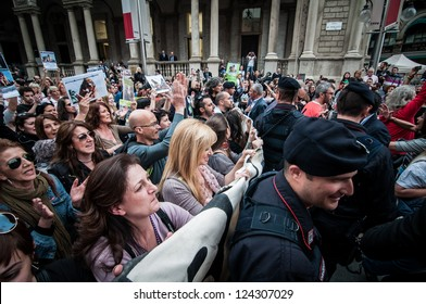 MILANO, ITALY - MAY 8: Manifestation against vivisection in Milan May 8, 2012. People protest in Milan against vivisection, struggling to close the dog testing center Green Hill and promoting veganism