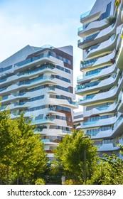 Milano, Italy. November 2018. Hadid residence in CityLife Milano.