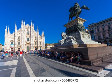 MILANO, ITALY - September 06, 2016: View on the  Duomo cathedral and the National Monument to Victor Emmanuel II (Monumento Nazionale a Vittorio Emanuele II) in Milan