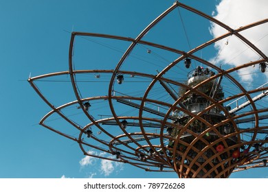 Milano, Italy - september 2015:  Tee of Life Tower at Universal Exposition's Pavilion in Milan, Italy 2015.
