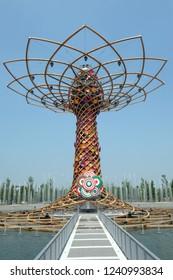 Milano, Italy - September 2015: Tree of Life Tower ( Albero della vita ) at Universal Exposition's Pavilion in Milan, Expo