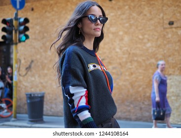 MILANO, Italy: September 21, 2018: Fashion blogger posing in the street  style outfit before ICEBERG fashion show during MFW fall/winter 2018/2019.