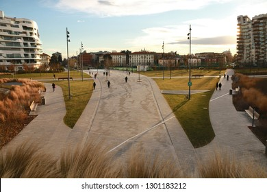 Milano, Italy. View of Piazza Elsa Morante in the modern City Life district.