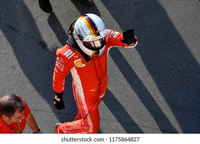 MILANO, ITALY-AUGUST 29, 2018: Ferrari's Formula 1 driver, Sebastian Vettel, wearing the safety helmet, during the F1 Milan Festival, 2018, in Milan.