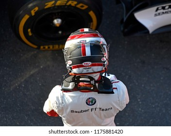 MILANO, ITALY-AUGUST 29, 2018: top view of Sauber's Formula 1 driver wearing safety helmet, during the F1 Milan Festival, 2018, in Milan.