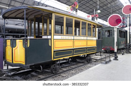 MILANO, ITALY-FEBRUARY 25, 2016: vintage  tramway  of the early 20th century displayed at the Science and Technology Museum Leonardo da Vinci, in Milan.