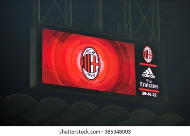MILANO, ITALY-MARCH 01, 2016: AC Milan logo and main sponsors logo displayed on the electronic board at the san siro soccer stadium, in Milan.