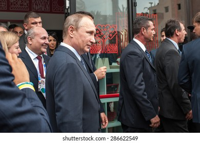 MILANO, JUNE 10, 2015: The Prime Minister Matteo Renzi, on the occasion of the Russian National Day at Expo, hosted today in Milan the President of the Russian Federation Vladimir Putin.