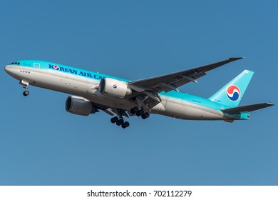 MILANO MALPENSA AIRPORT - APRIL 5, 2017: Boeing B777 Korean Air Cargo in Go around runway 35L MXP LIMC. Arrived from South Korea to transport material.
