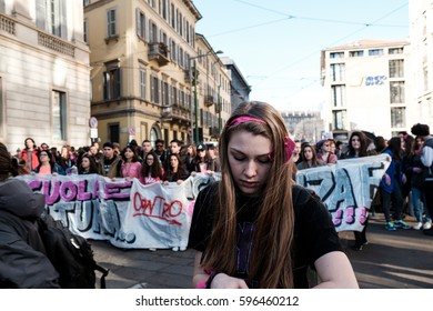 MILANO,  MARCH 08, 2017: Thousands of women march through Milan on March 8, 2017 in observance of International Women's Day.