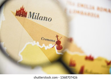 Milano, Milan and Cremona region map of Italy concept view visualisation through magnifying glass