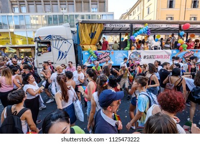 Milano Pride 2018, manifestation of gay, lesbians, asexuals, bisexuals, intersexual and queer pride. Milan, Italy. June 30, 2018.