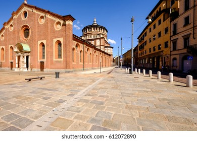 Milano/Italy, 10th August 2014: Famous church Santa Maria Delle Grazie in the city center