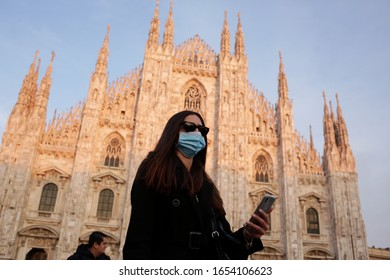 MILANO,ITALY- FEBRUARY 22, 2020: Coronavirus in Italy. Panic and protection against viruses in Milan