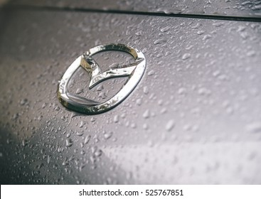 MILANO,ITALY. jENUARY 1ST, 2016. The Mazda symbol.  Mazda, is a Japanese automaker based in Fucha, Aki District, Hiroshima Prefecture, Japan.