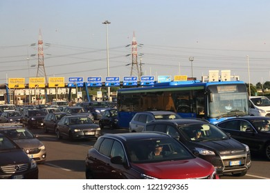 Milano,Italy-July 19 2018:Heavy traffic at toll road after Milano Nord the Telepass toll lanes during the  summer holidays season