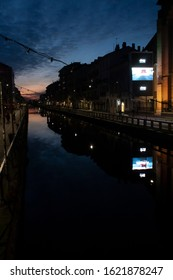 """MIlano-January 2020: River in Milano,"""" Navigli"""""""