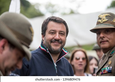 MILANO,MI/ITALY-MAY 11 2019 :Matteo Salvini Minister of the Interior, guest of the military citadel in Milan during the 92nd meeting of the Alpine troops
