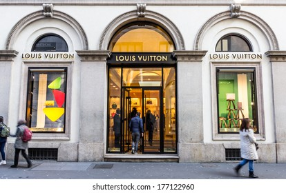 Milano,Via Montenapoleone,IT. february 2,2014. Louis Vuitton store.For six consecutive years(2006�2012) LV has been named the world's most valuable luxury brand.Its 2012 valuation was 25.9 billion USD