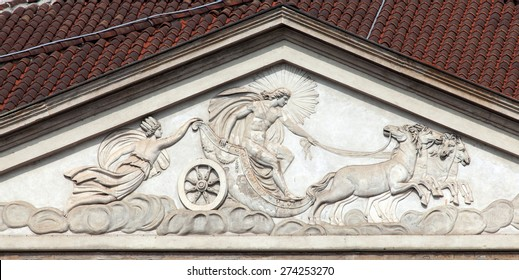 Milan's La Scala Neoclassical frontage surmounted by a tympanum featuring a bas-relief of Apollo, protector of the Muses, and his Chariot