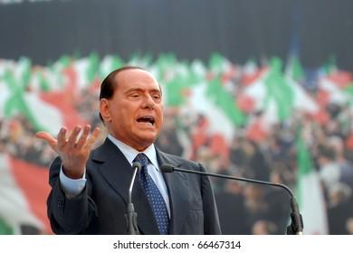 MILAN-SEPTEMBER 27: Italian Prime Minister Silvio Berlusconi speaks at the Italian Party Of Freedom (PDL) Festival on September 27, 2009 in Milan, Italy.