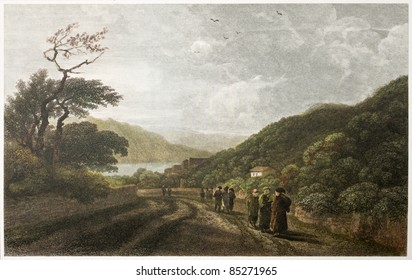 Milazzo Fiumara old view, Sicily. Created by De Wint and Miller, printed by McQueen, publ. in London, 1821. Ed. on Sicilian Scenery, Rodwell and Martins, London, 1823