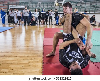 MILAZZO, ITALY - FEBRUARY 12. Armlock during BJJ & Grappling Competition, Brazilian Jiu Jitsu Tournament, Tirreno Challenge on February 12, 2017.