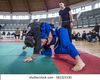 MILAZZO, ITALY - FEBRUARY 12. Back mount during BJJ & Grappling Competition, Brazilian Jiu Jitsu Tournament, Tirreno Challenge on February 12, 2017.